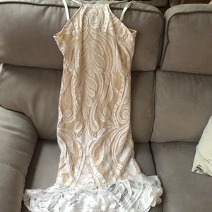 White and Tan Pretty Little Things Dress
